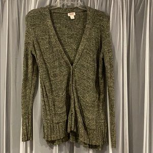 EUC heather green cardigan